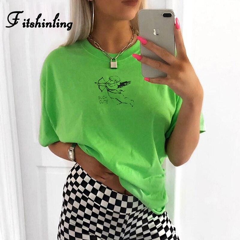 Fitshinling Harajuku aesthetic   t     shirt   women clothing fluorescence neon green tee   shirt   femme streetwear tops summer   t  -  shirt   new