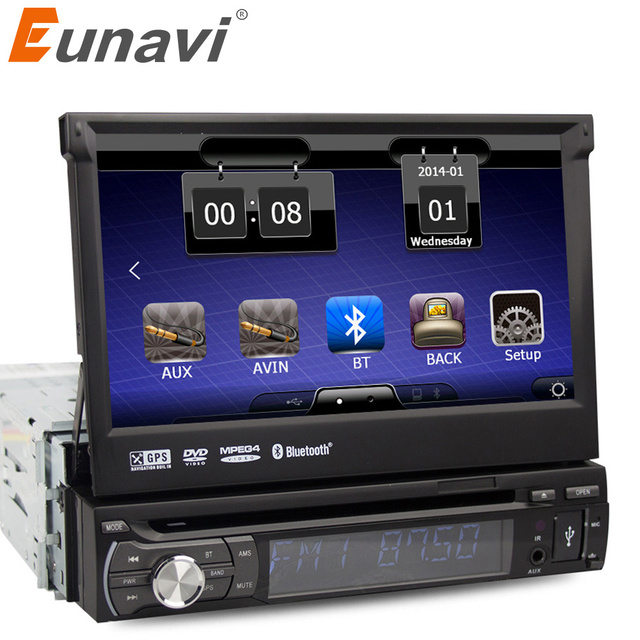 eunavi 1 din car autoradio dvd player amp gps navigation single 1din car radio stereo camera. Black Bedroom Furniture Sets. Home Design Ideas