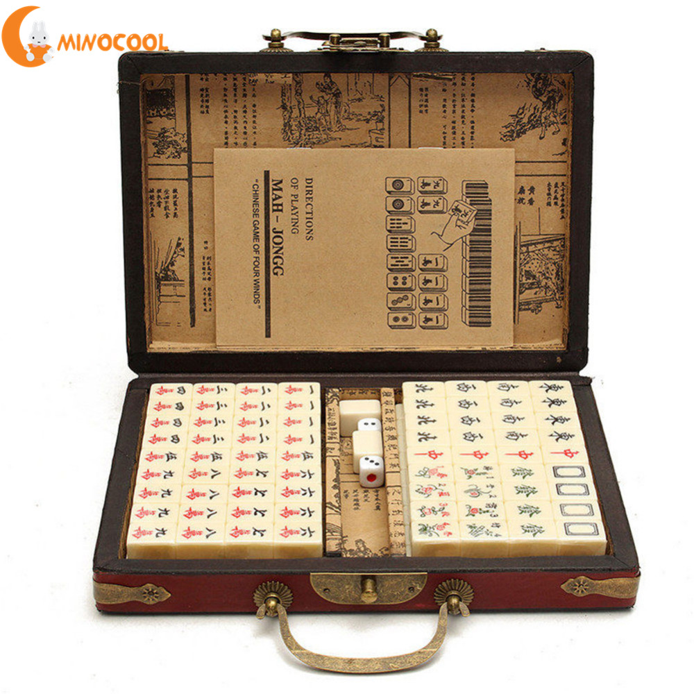 144Pcs Travel Mahjong Portable Mah jongg With Archaistic Leather Box And Manual In English Random Pattern