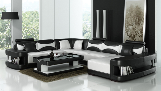 Furniture Leather Sofa Sets With Coffee Table