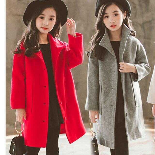 a19ad8b870d7 woolen long jackets for kids girls solid tench coat children ...