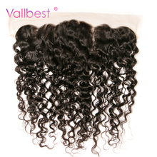 Vallbest Water Wave Lace Frontal 100% Human Hair Closure 4X13 Ear to Ear Frontal With Baby Hair Natural Black Free Part Non Remy