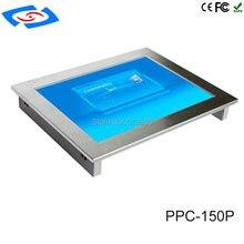 Недорогой безвентиляторный 15 дюймовый сенсорный экран, встроенный промышленный панельный ПК с разрешением 1024x768 для планшета автоматизации завода