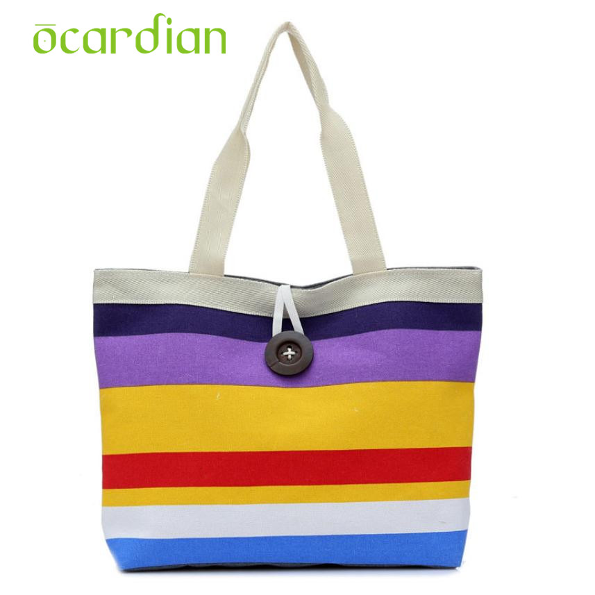Hot Lady Colored stripes Shopping Handbag Shoulder Canvas Bag Tote Purse 17Mar03