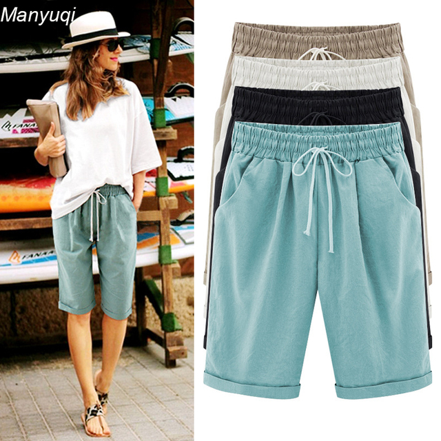 Summer new large size women's shorts straight fat loose ...