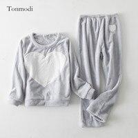 Пижамы для Для женщин зима с длинными рукавами утолщение коралловый флисовое ночное белье Сердце Для женщин Lounge пижамный комплект пуловер