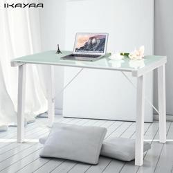 Ikayaa moderno computador mesa escritório estação de trabalho temperado galss superior 120 kg capacidade de carga móveis escritório em casa mesa estudo