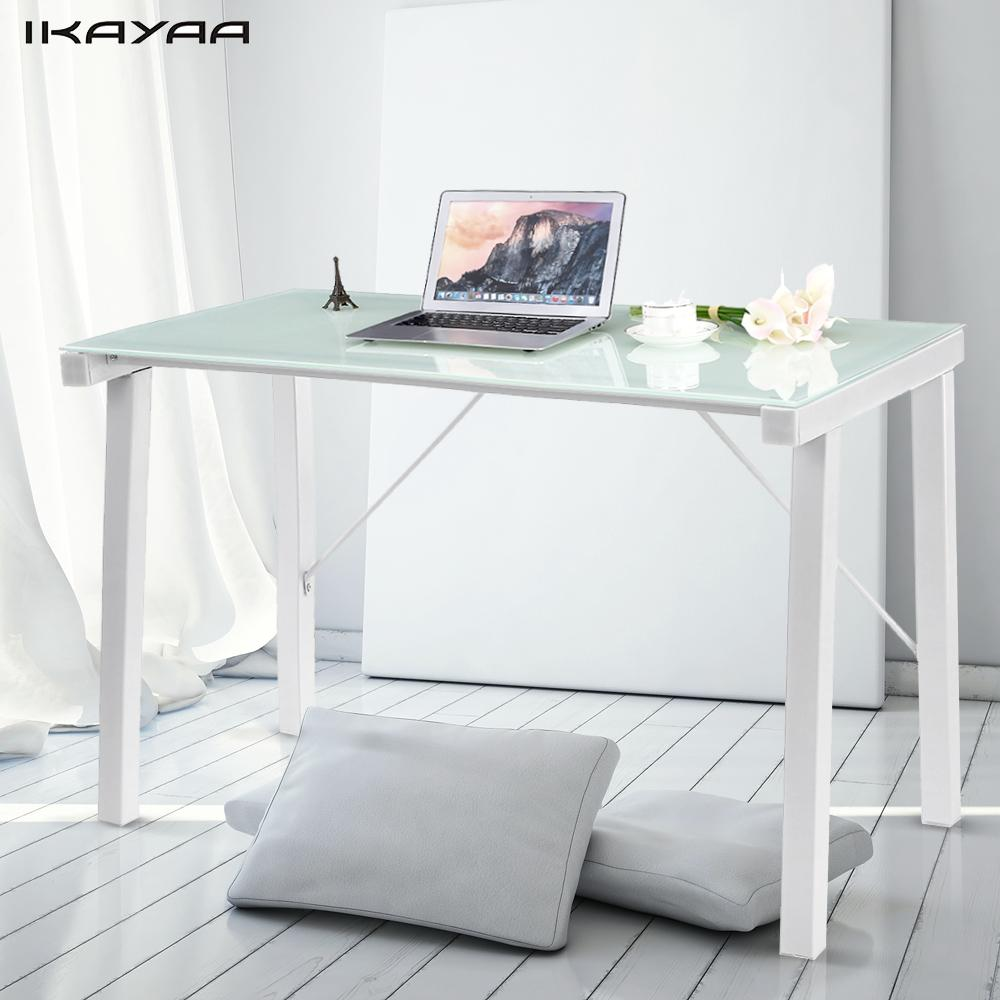 Workstation Furniture Ikayaa Modern Computer Desk Table Office Workstation Tempered Galss Top 120kg Load Capacity Home