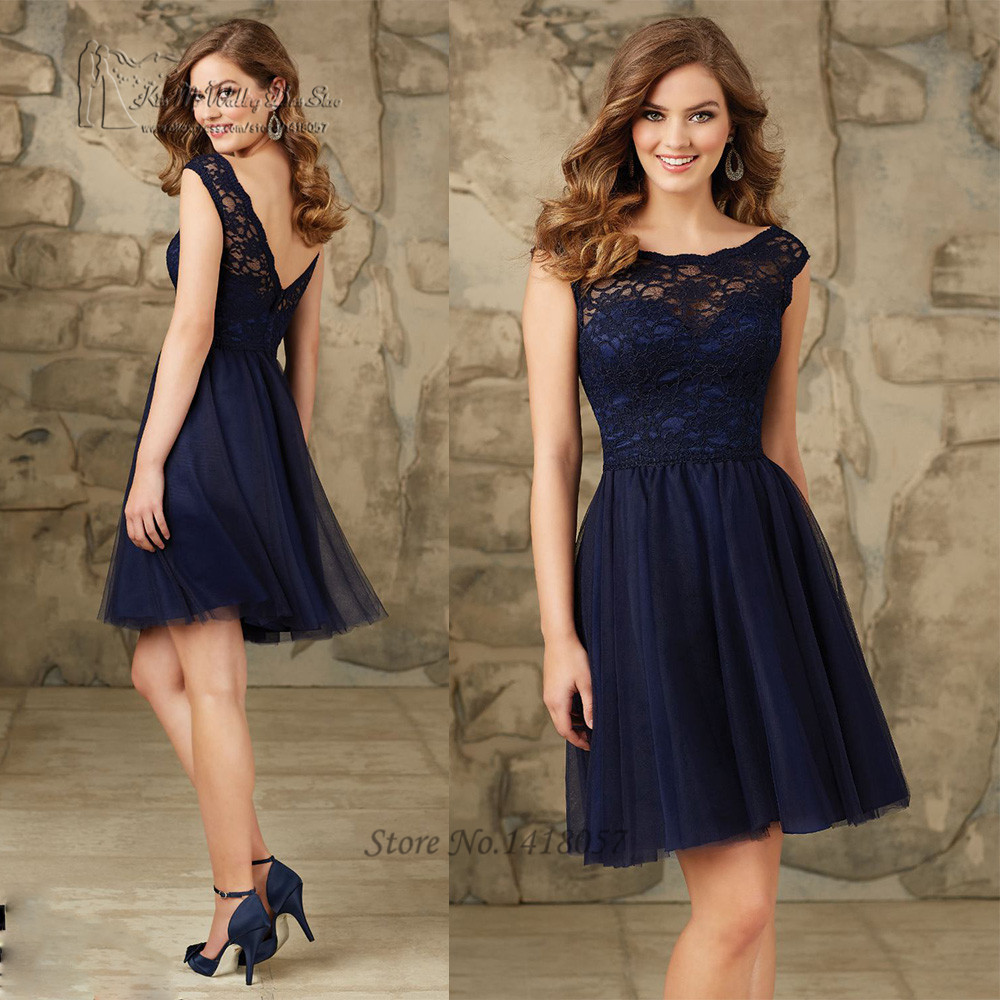 Navy blue wedding party dresses lace short bridesmaid for Navy blue dresses for weddings