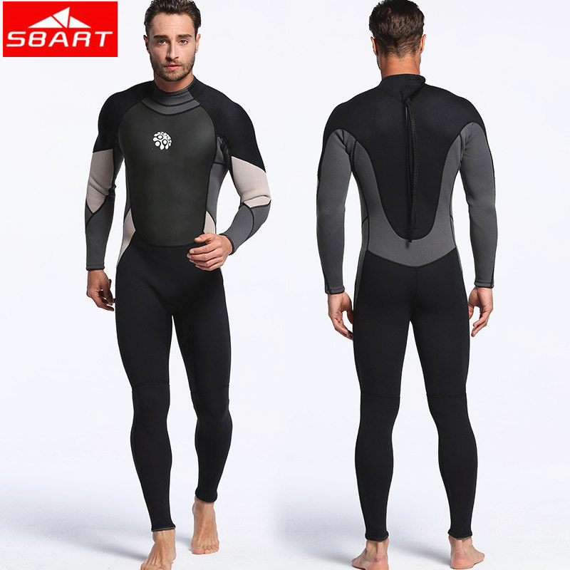 SBART 3mm Neoprene Scuba Dive Wetsuit For Men Spearfishing Wet Suit Surf Equipment Keep Warm One-piece Diving Wetsuits spearfishing wetsuit 3mm neoprene scuba diving suit snorkeling suit triathlon waterproof keep warm anti uv fishing surf wetsuits