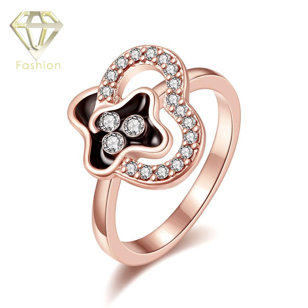 White Gold Color Unique  Geometric Inlaid Cubic Zirconia Rings Trendy Jewelry