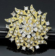 2.2 di Pollice Pretty Piantato Oro e Trasparente Con Strass di Cristallo Diamante Partito Wedding Bouquet Spilla(China)