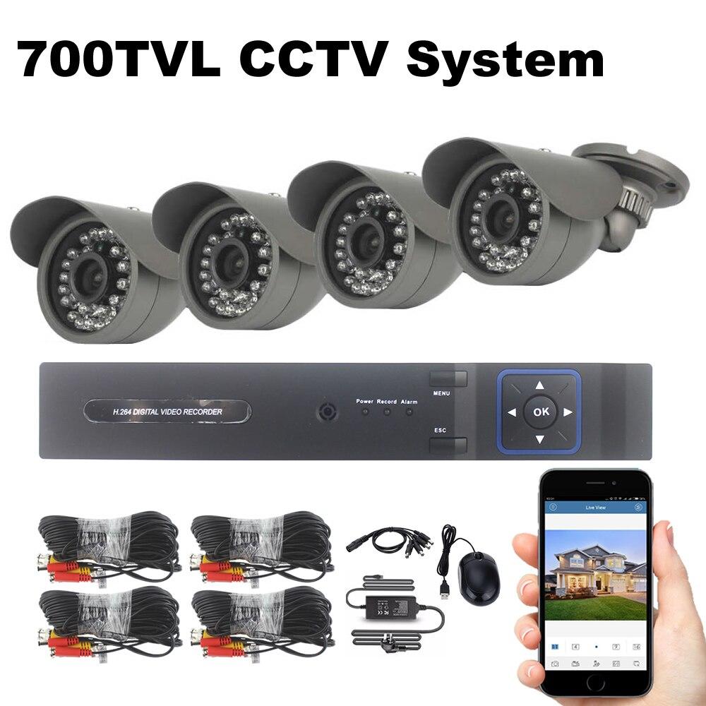 4CH Système de Sécurité 4 PCS 700TVL CCTV Caméra de Surveillance système 18 m Câbles de Vision Nocturne Extérieure Étanche Caméra de Sécurité Kit