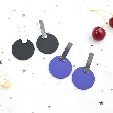 Купить круглые серьги металлические разноцветные синие и черные ретро