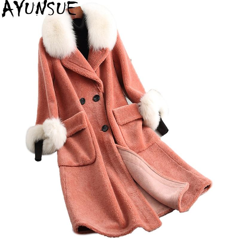 Freundlich Ayunsue 2019 Mode Echt Wolle Pelzmantel Natürliche Fuchs Pelz Kragen Schafe Scheren Mäntel Lange Warme Winter Jacke Frauen 18183 Wyq2055 Echtes Fell