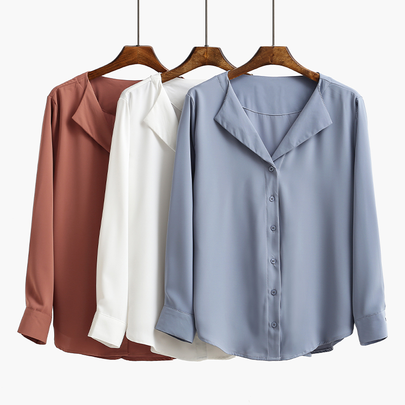 2018 Spring fashion Sexy V-Neck shirt women OL Career temperament formal long sleeve chiffon blouse office ladies plus size tops ...