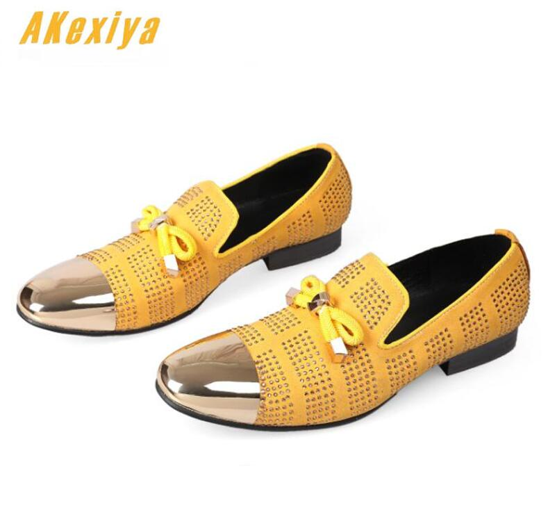 Shoes Men's Shoes Sensible Men Luxury Designer High-quality Punk Rock Yellow Rhinestone Oxfords Shoes Homecoming Male Wedding Prom Formal Dress Shoes
