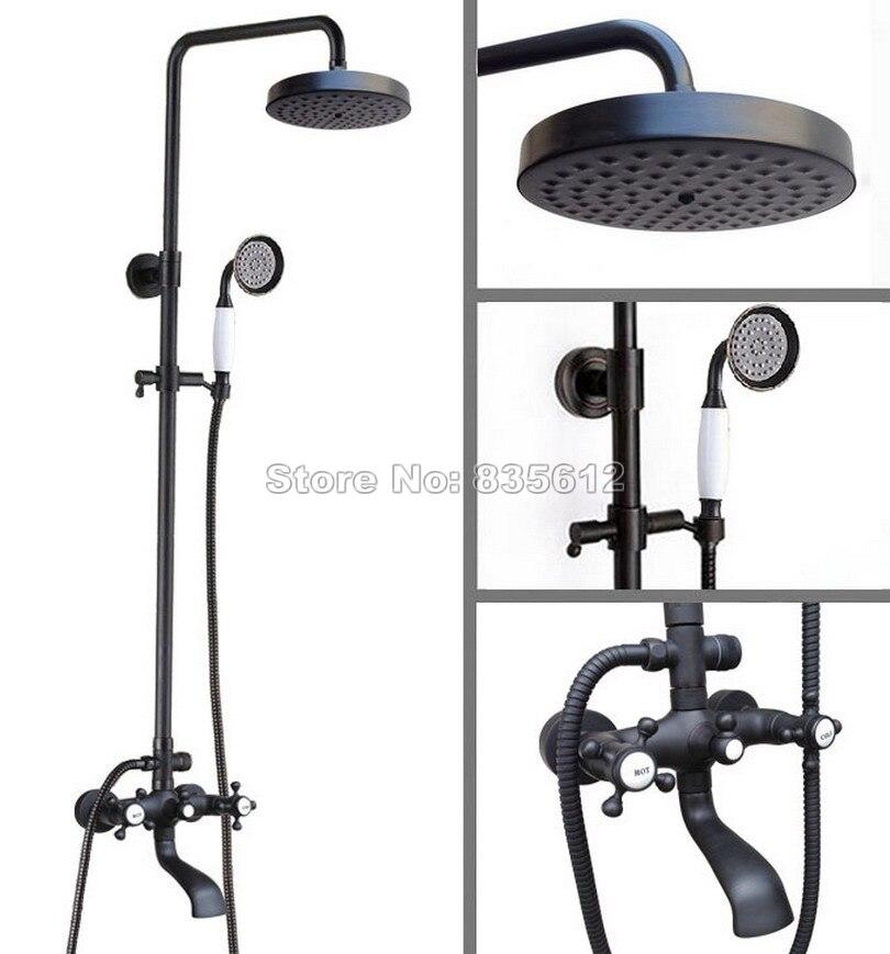Black Oil Rubbed Bronze Wall Mounted Bathroom Dual Handles Rain Shower Faucet Set With Shower Head Bath Tub Mixer Tap Whg108