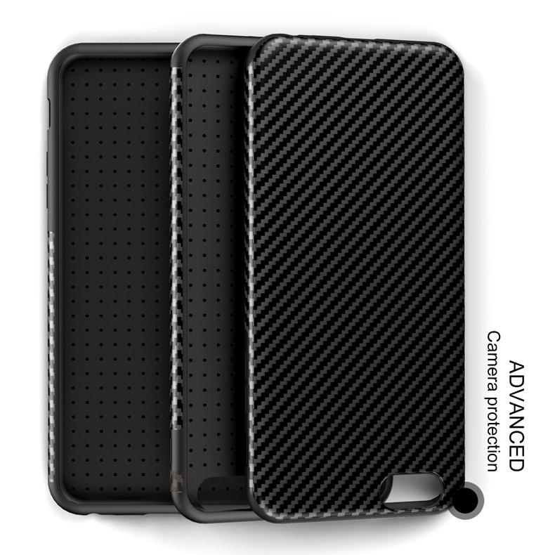 Najnowszy środowiska carbon fiber case dla iphone 6 6s plus miękkie antypoślizgowa anti-puk pokrywy dla iphone 7/plus skóra skóra torba 8