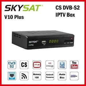 Satellite Receiver SKYSAT V10 Plus support IPTV m3u dvb CCCamd Cline Newcamd Autoroll Powervu Biss WiFi 3G Set Top Box(China)