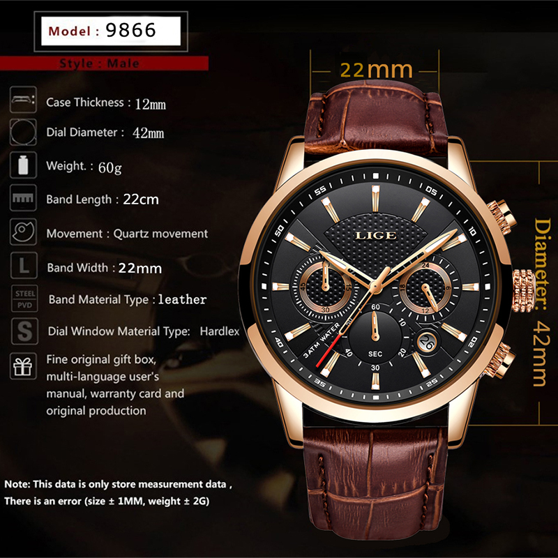 Image 4 - Reloje 2019 LIGE Men Watch Male Leather Automatic date Quartz Watches Mens Luxury Brand Waterproof Sport Clock Relogio Masculino-in Quartz Watches from Watches