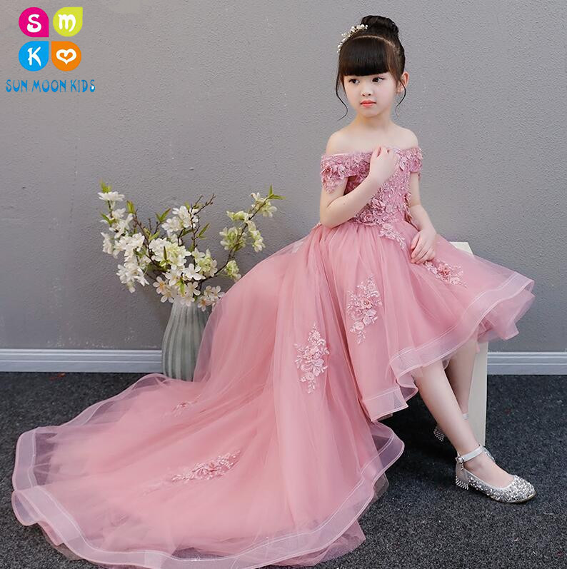Glizt Appliques Girl Dress Flower Girl Wedding Dresses Long Trailing Girl Party Princess Birthday Dress First Communion Gown christmas girls sports suits fashion toddler girl clothing sets 2017 spring autumn lace coat outfit clothes size 4 6 12 14 year