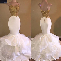 Sexy Sweetheart White and Gold Lace Mermaid Wedding Dress 2018 Ruffles Organza Vintage Wedding Gowns