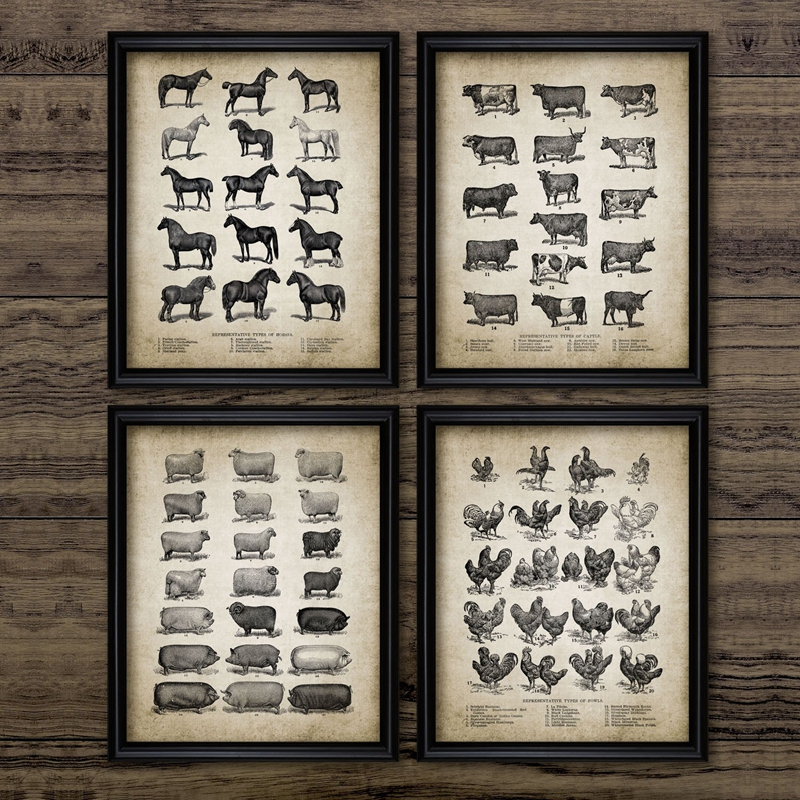 Vintage Farm Animals Poster Print Chicken Pig Sheep And Horse Wall Art Canvas Painting Retro Animal Picture Home Decoration