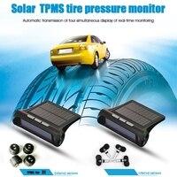 Zonne-energie TPMS Bandenspanningscontrole Systeem Verstelbare Lcd-scherm w/USB Lader Auto bandenspanning alarmsysteem