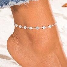 EN – Bracelets de cheville EN cristal pour femmes, couleur or et argent, style Boho, bijoux pour le pied