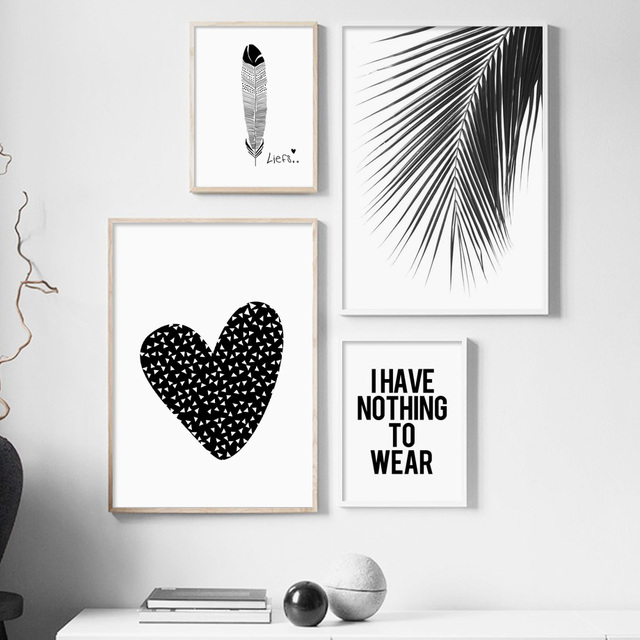 Black White Heart Palm Leaf Feather Quote Modern Wall Art