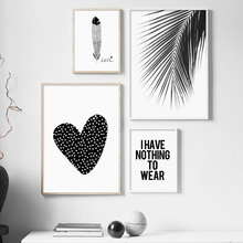Black White Heart Palm Leaf Feather Quote Modern Wall Art Canvas Painting Nordic Poster Prints Pictures For Living Room