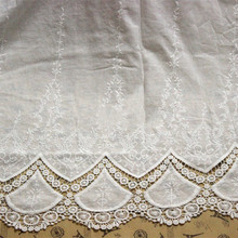 Delicate off white lace fabric skirt cotton cloth embroidery fabric width 125cm DIY fabric clothing accessories