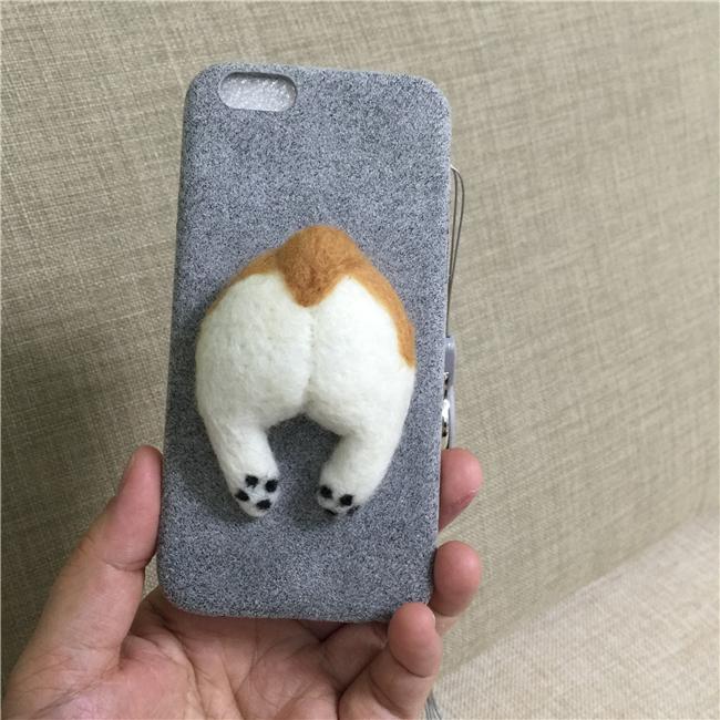 Corgi case handmake igły filcu wełnianego słodkie cat dog tyłek tyłek pokrywa dla apple iphone 6 6s plus iphone 7 7 p miękkie telefon komórkowy case 14