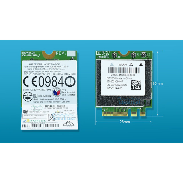 BCM943602BAED DW1830 ac NGFF 1300Mbps BT4.1 0HHKJD HHKJD WiFi Wireless Network Card better than BCM94352Z DW1560 support mac os