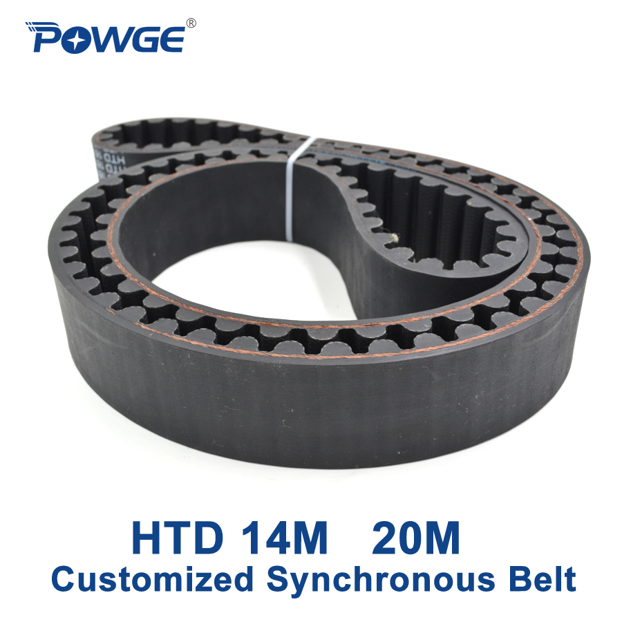 POWGE Arc Teeth HTD 14M 20M Synchronous Belt Pitch 14mm 20mm Customized production all kinds of HTD14M HTD20M Timing Belt pulley free shipping timing belt pulleys synchronous belt synchronous pulley the suite of synchronous belt 3m 8 1