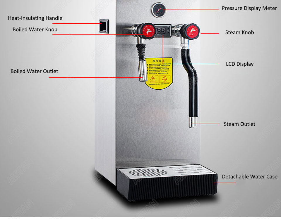 RC800 Commercial stainless steel Water Boiling Machine electric multifunctional steam water boiler for bar 220V 20