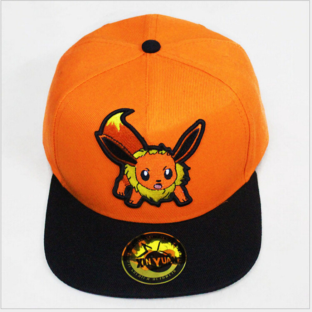 Anime Pocket Monster Flareon Cosplay Cap orange cartoon Pikachu ladies dress Pokemon go Hat charm Costume Props Baseball cap pokemon go print purse anime cartoon pikachu wallet pocket monster johnny turtle ibrahimovic zero pen pencil bag leather wallets