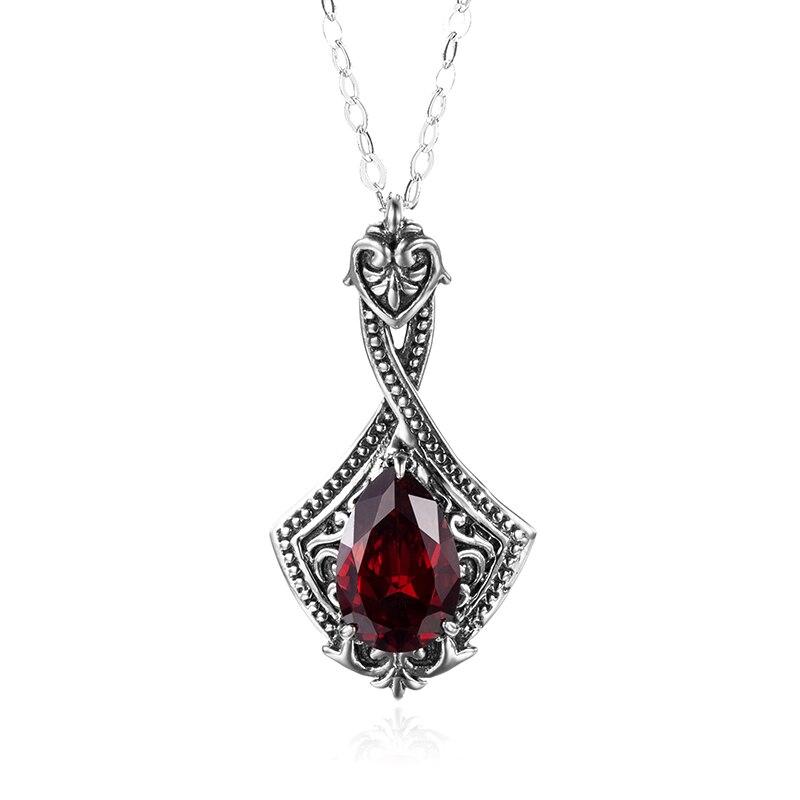 Vintage Women Necklace Pendant Palace Fashion 925 Sterling Silver Lab Garnet Choker Pendant Lady Wedding Party Love Fine Jewelry