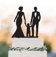 Famiglia Wedding Cake topper con il bambino, sposa e sposo wedding cake topper con ragazzino, divertente wedding cake topper con il bambino,