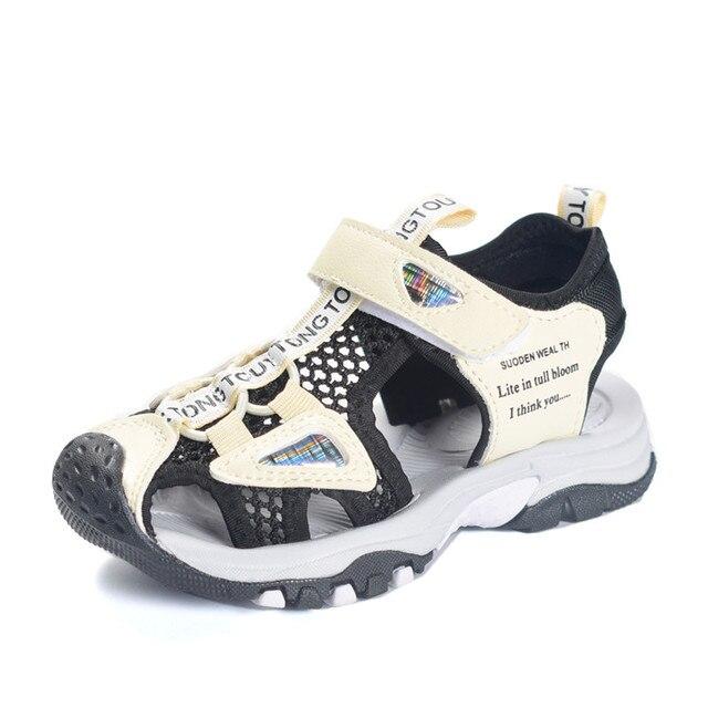 דימי 2019 קיץ ילדי נעלי מותג סגור הבוהן עור מפוצל בני סנדלי החלקה ללבוש עמיד ילדי נעלי ילד החוף סנדלי