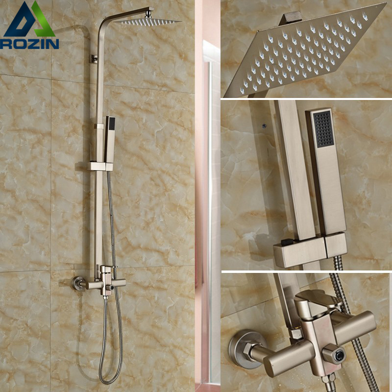 Luxury Brushed Nickel Shower Set Faucet Single Handle 8