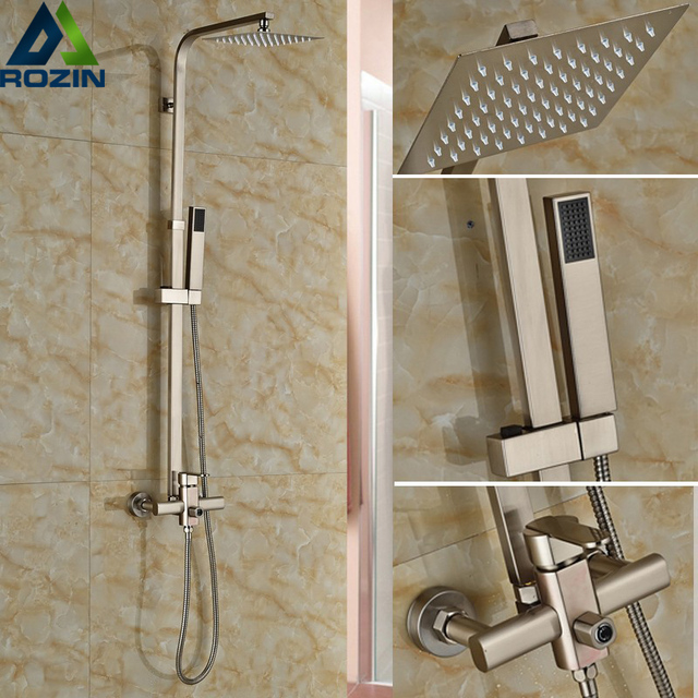 Luxury Brushed Nickel Shower Set Faucet Single Handle 8 Square Rain Stainless Steel Head