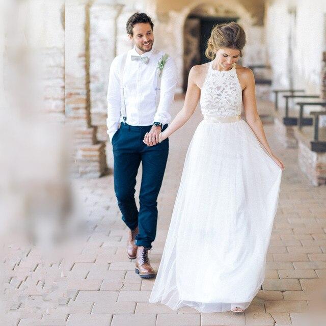 Elegant Lace Halter Top Open Back Boho Wedding Dresses 2017 Lace ...