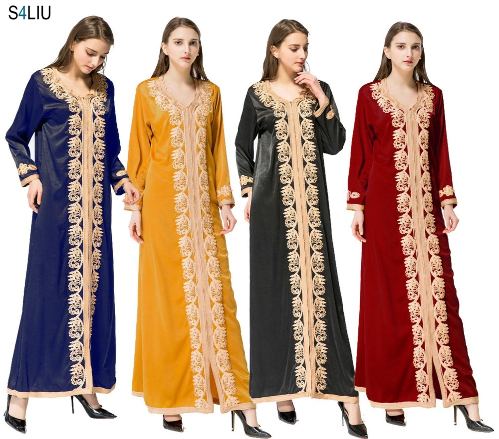 Women Maxi Long Sleeve Long Vintage Dress Plus Size Embroidery Caftan Moroccan Islamic Muslim Clothing Dress Floor Length Dress