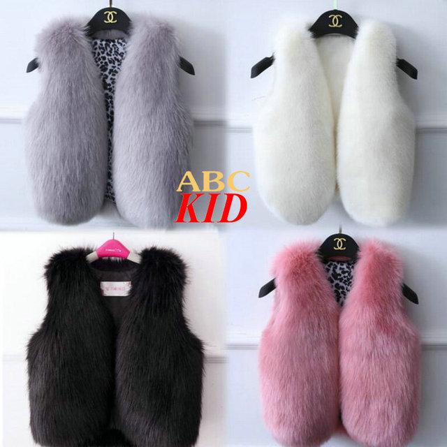 Nova Moda Colete para meninas Faux Fur colete pelô Faux pele de raposa fourrure doudoune chaqueta enfant crianças casacos jaquetas KD120