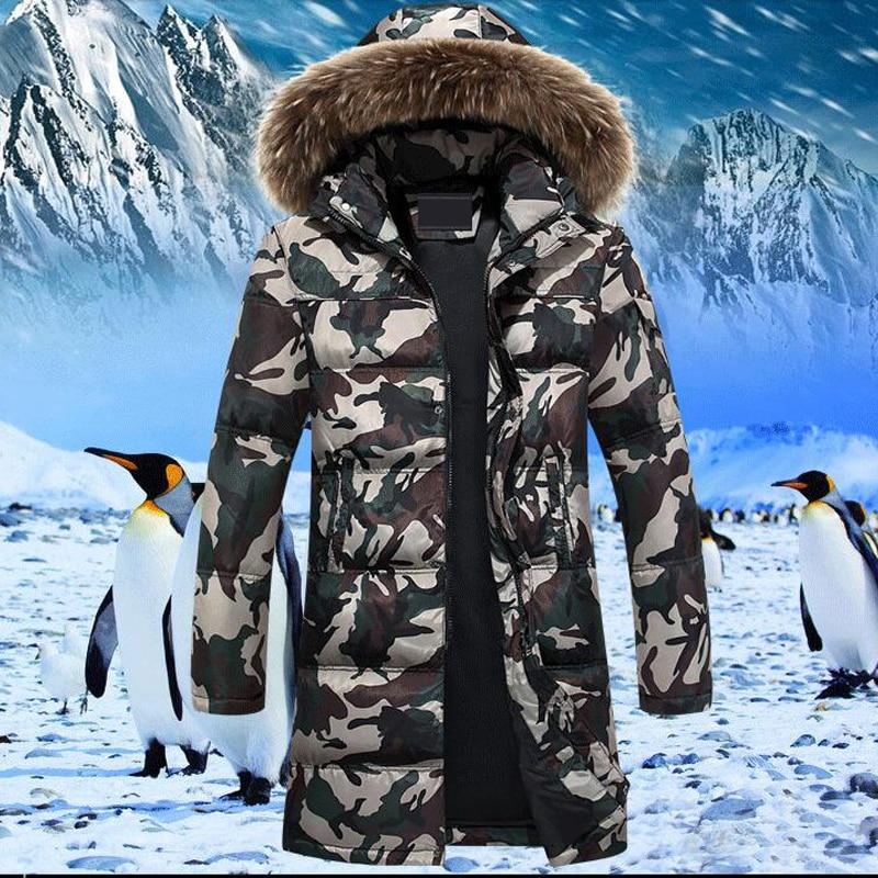 Nuevo abrigo de invierno para hombre abrigo de camuflaje grueso chaqueta de abrigo para hombre 90% blanco pato abajo chaquetas de camuflaje verde abrigos - 5