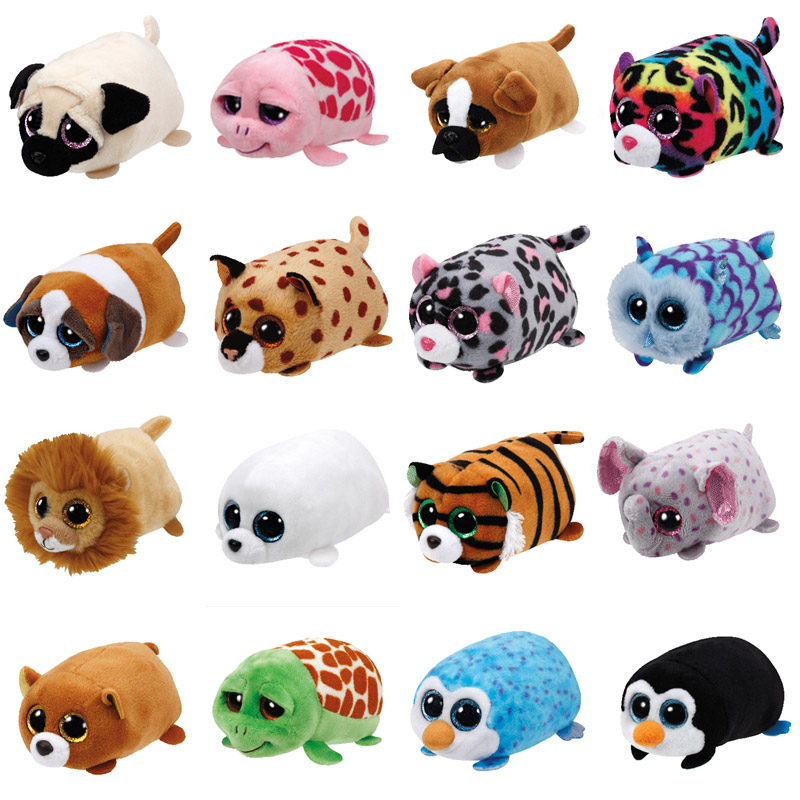 TY Beanie Boo teeny tys Plush - Icy the Seal 9cm Ty Beanie Boos Big Eyes Plush Toy Doll Purple Panda Baby Kids Gift HY