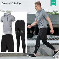2017 New Men Sports Suit 3pcs Quick Dry Running Set Sports Compression Underwear Basketball Soccer Fitness