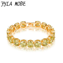 Fyla Mode 10mm Gold Color Princess Cut Chain & Link Bracelet Bangle With Oilver Yellow AAA Cubic Zircon For Women Party Jewelry